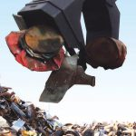 hydraulic magnet-grapple mag-grap magnet combo attachment for recycling and processing metals