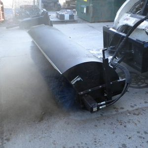 rotary broom for dust and dirt removal skid steer attachment