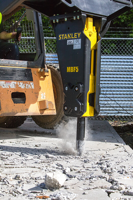 in use hydraulic breaker skid steer attachment MBF5 sales and service in winnipeg