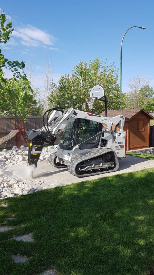 mbf05 on bobcat skid steer breaker concrete residential landscaping purposes