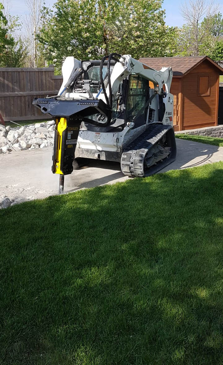 mbf05 on bobcat skid steer breaker concrete
