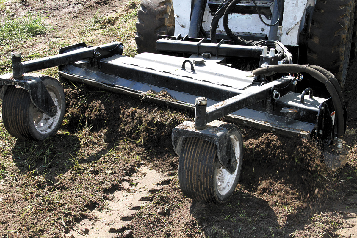 deep soil rake conditioner skid steer attachment