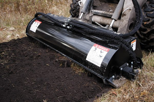 rotary tiller heavy duty soil conditioner tilling skid steer attachment